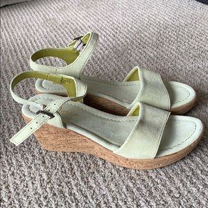 Shoes - Green wedge sandals